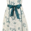 Teal Floral Print Satin Trim Dress Large