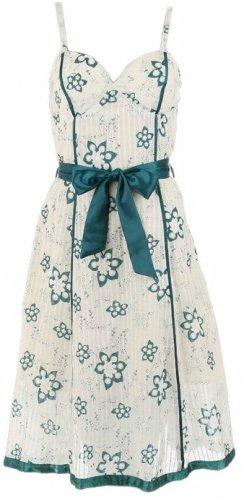 Teal Floral Print Satin Trim Dress Large