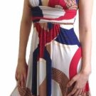 Multi Color Empire Waist Sleeveless Dress Large