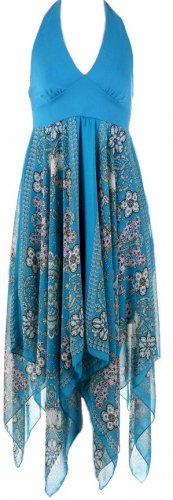 Blue Print Detailed Bottom Halter Dress Large
