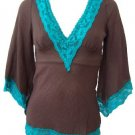 Brown Turquoise Lace Trim Deep V-Neck Gauze Tie Back Top Small