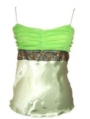 Vannah Green Satin/Chiffon Ruched Detail Top Large
