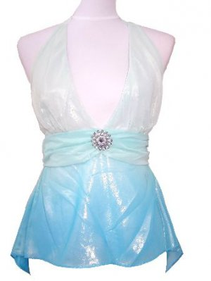 Blue Shimmering Removable Brooch Halter Top Medium