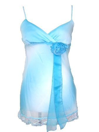 Blue Sheer Chiffon Attached Flower Lace Bottom Top Medium