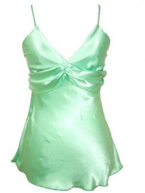 Green Satin Ruched Detail Spaghetti Strap Top Large