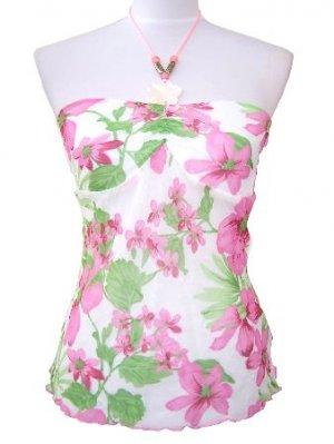 Pink Floral Chiffon Necklace Halter Top Medium, Juniors Women's