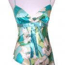 Blue Multi Color Floral Print Satin Top Large, Women's Juniors