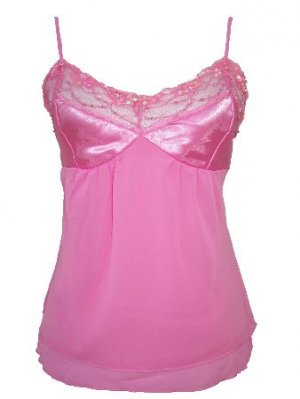 Pink Two Layered Chiffon Satin Beaded Top Small, Women's Juniors
