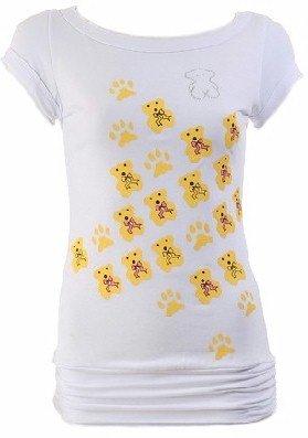 White Yellow Bear Print Top Medium, Women's Juniors