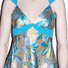 Blue Satin Print Detailed Waist Double Strap Top Medium, Women's Juniors