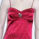 Red Satin Broach Spaghetti Strap Top W/Inside Bra Large, Women's Juniors