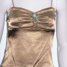 Bronze Satin Broach Spaghetti Strap Top W/Inside Bra Large, Women's Juniors