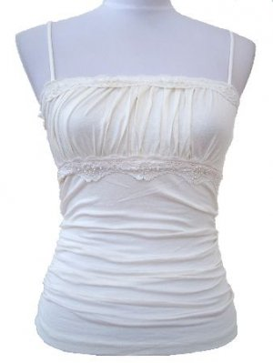 Ivory Beaded Ruched Top Large, Women's Juniors