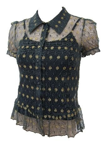 Dark Green Victorian Gold Polka Dot Cap Sleeve Top Small, Women's Juniors