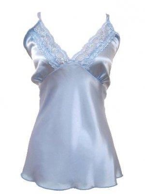 Blue Satin Lace Clear Sequin Top 1XL Women's Juniors Plus Size