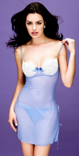 SM80337 Sheer babydoll slip with side slits S/M