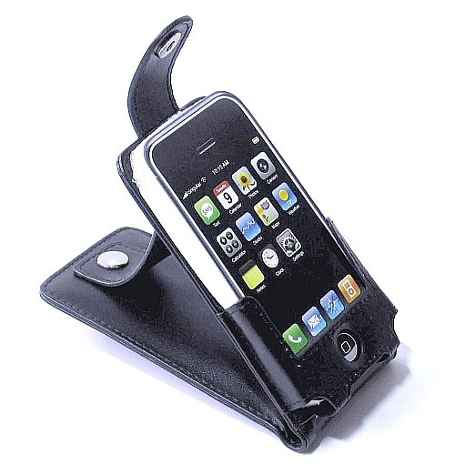 iPhone ipod Touch Leather Case Skin with Belt Clip (Black)