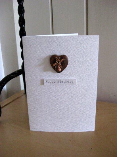 Handmade Card - Vintage Windmill Charm on Wooden heart