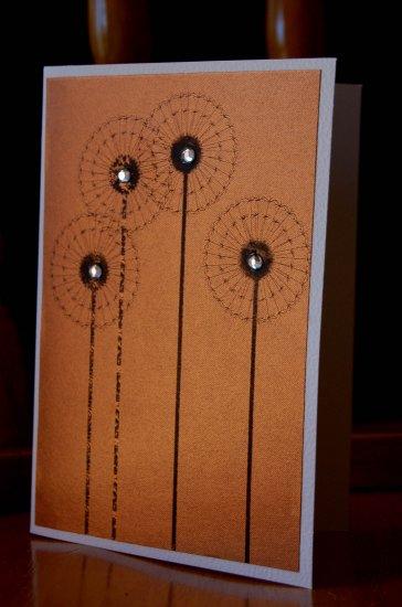 Handmade Card - Bronze Dandelions