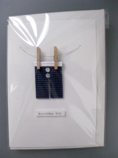Handmade Card - Blue boxers on Washing Line - Birthday Boy
