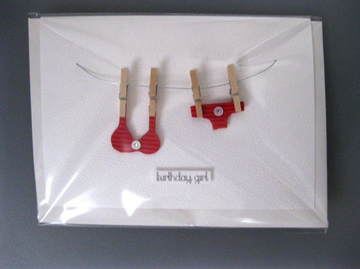 Handmade Card - Red Bikini on Washing Line - Birthday Girl