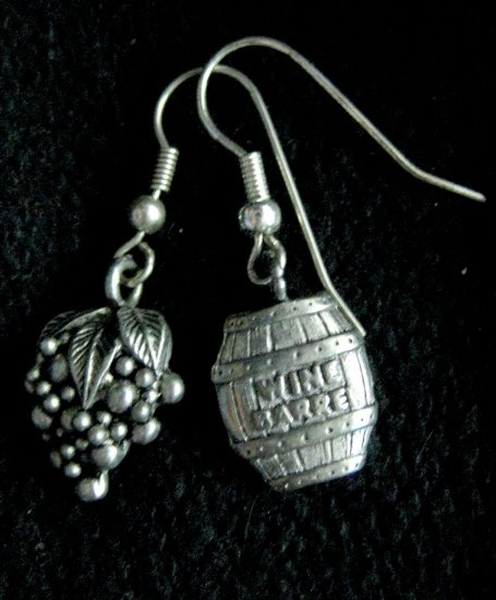 Handmade Earrings - Barrel and Grape Charms