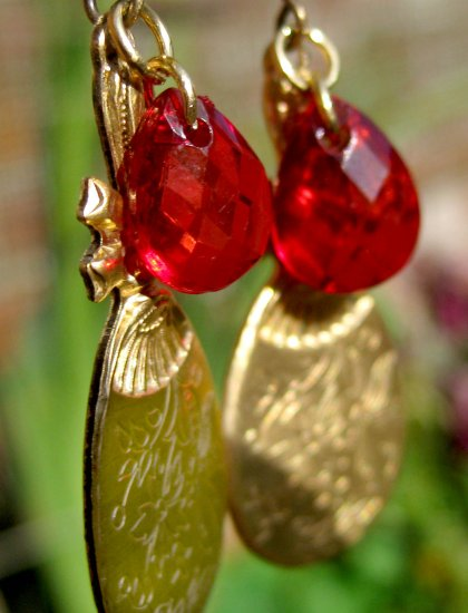 Handmade Earrings - Victorian Golden Mirror and Red Bead
