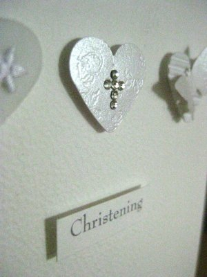 Handmade Christening Card - Three hearts and butterfly