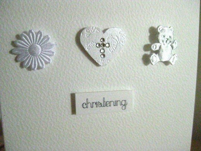 Handmade Christening Card - Sun, Heart and Teddy
