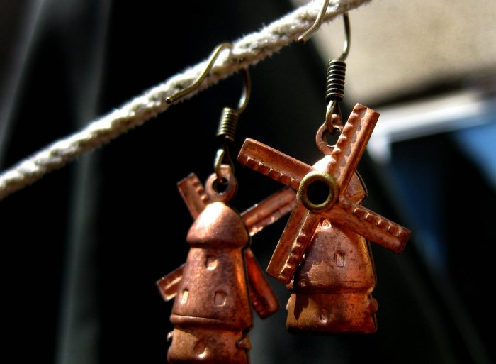 Handmade Earrings - tiny vintage copper Windmill Charms