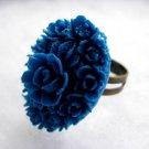 Handmade Ring - Deep Azure Blue Vintage Floral Cab