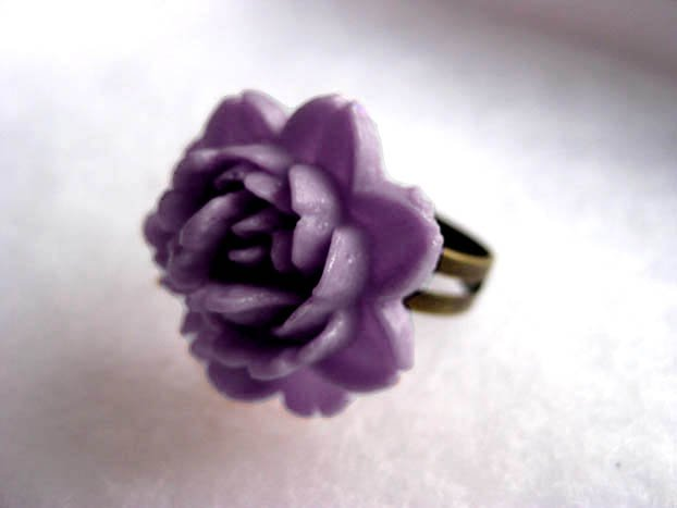 Handmade Dusty Lilac Rose Ring