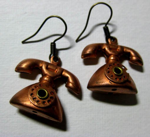 Handmade Telephone Charm Earrings