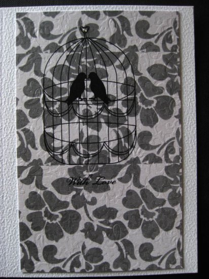 Handmade Card - Two Lovebirds in a Cage - With Love