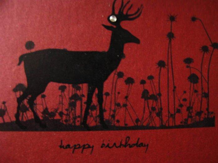 Handmade Card - Happy Birthday - Red Deer in Flowers
