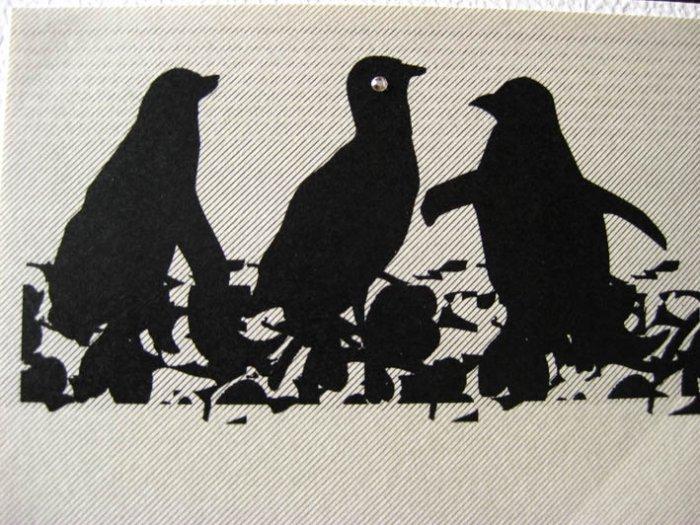 Handmade Card - Cream Penguins