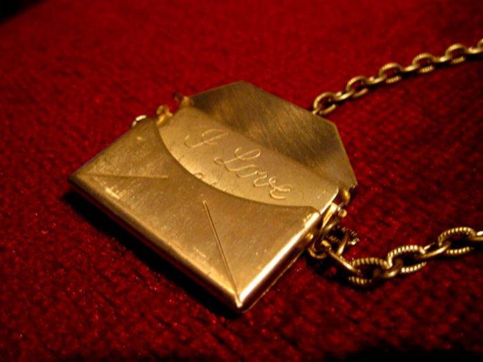 Handmade Necklace - Vintage Envelope with I Love You Note inside