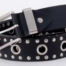 "Black Leather Fashion Western Belt Silver Studs 40""  M"