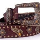 Brown Brass Leaf Rhinestone Leather Fashion Belt 41""