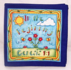 """In the Beginning.. Genesis 1:1 ""  Fabric Book"
