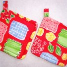 """Abstract Red"" Potholder Set"