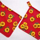 """Sunflowers - Red"" Potholder Set"