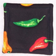 """""""Peppers - Black"""" Coaster Set of 4"""
