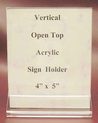 """Vertical Acrylic Sign Holders Open Top 4"""" x 5""""   10 Lot"""