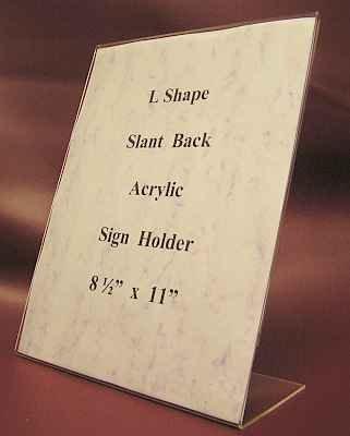 "L Shape Slant Back  Acrylic Sign Holders 8.5"" x 11"" 10 Lot"