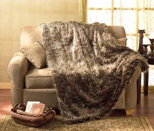 Brown Faux Fur Blanket -Full Size