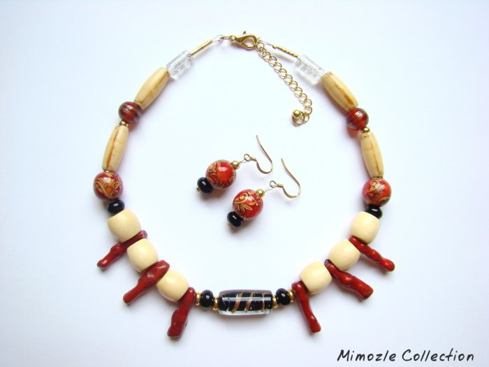EXCEPTIONAL BLACK TOURMALINE CORAL WOOD CHOKER SET