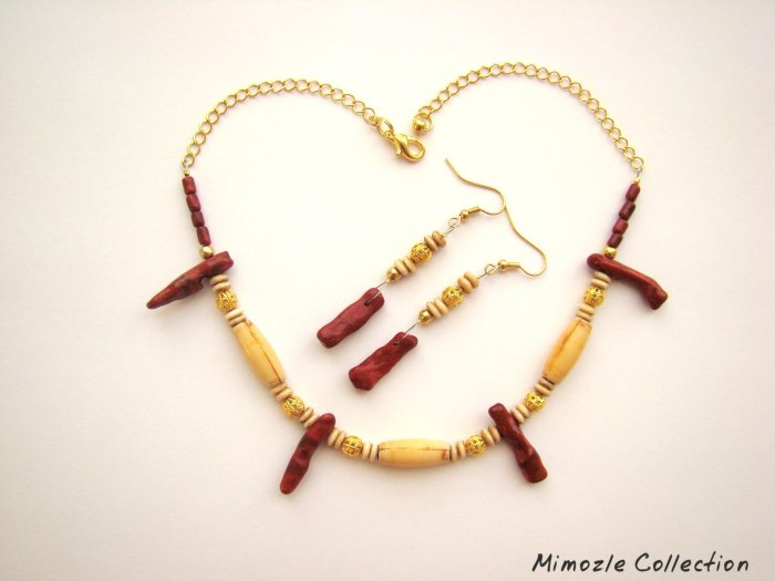 RED CORAL & BONE BEADS GOLD CHAIN NECKLACE JEWELRY SET