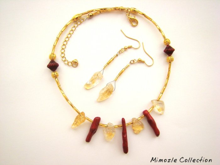 NATURAL CITRINE CORAL GOLD TONE NECKLACE & EARRINGS SET