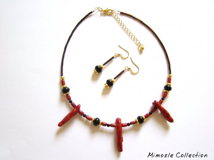 BLACK TOURMALINE & CORAL CHOKER NECKLACE & EARRINGS SET
